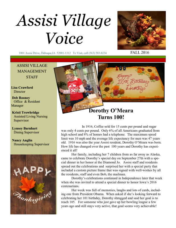 thumbnail of Assisi newsletter fall 2016