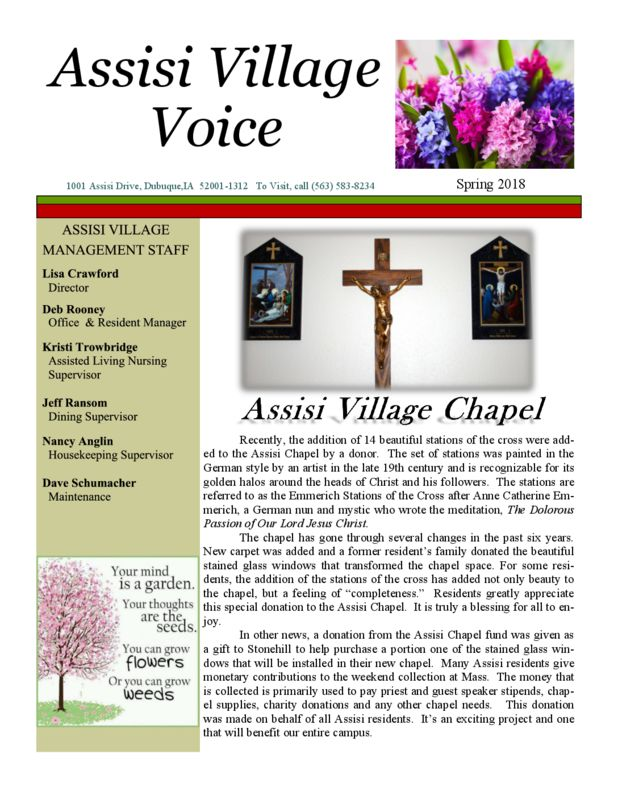 thumbnail of Assisi Spring 2018 Newsletter