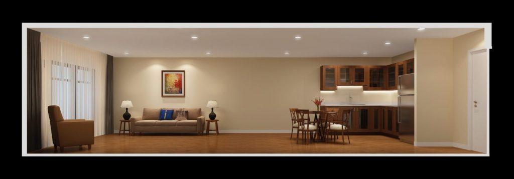 rendering of a traditional assisted living apartment
