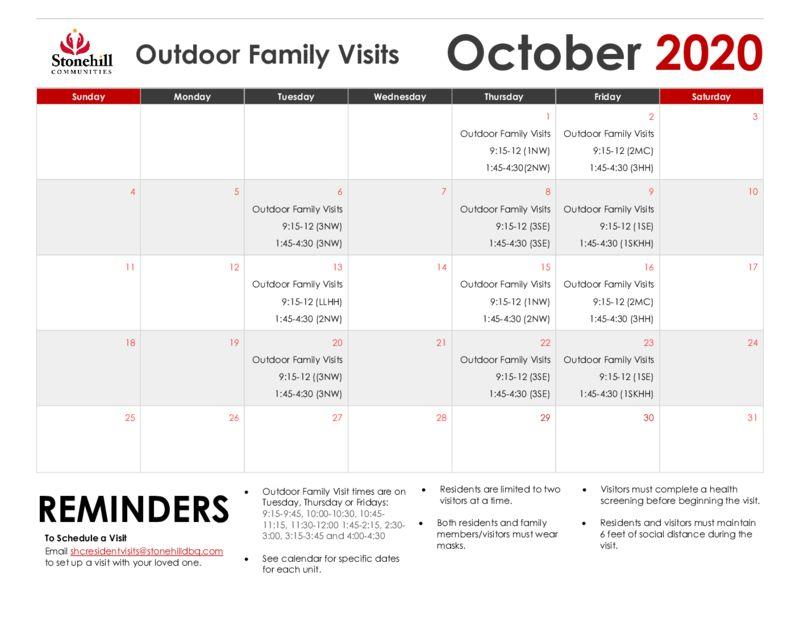 thumbnail of October Outdoor Visit Calendar